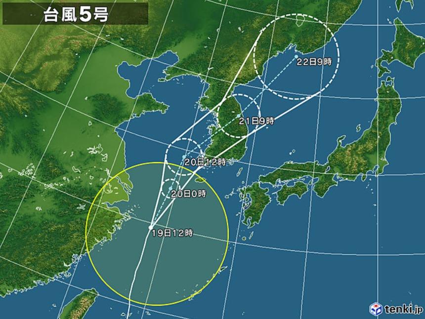 台風5号進路予想図